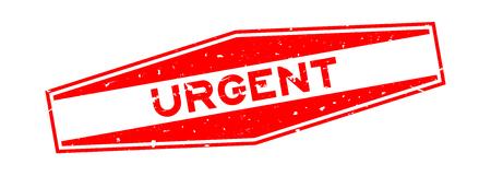 Grunge red urgent word hexagon rubber seal stamp on white background