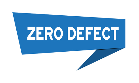 Blue paper speech banner with word  zero defect on white background (Vector) 矢量图像