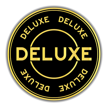 Black and gold color deluxe word round seal sticker on white background