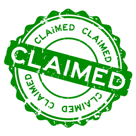 Grunge green claimed word round rubber seal stamp on white background Illustration