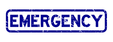 Grunge blue emergency word square rubber seal stamp on white background Illustration
