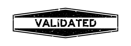 Grunge black validated word hexagon rubber seal stamp on white background
