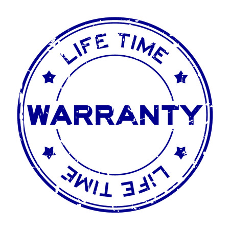 Grunge blue warranty life time round rubber seal stamp on white background