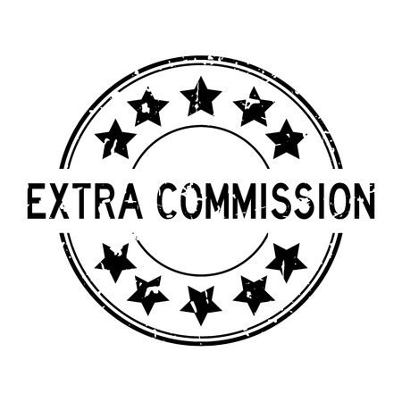 Grunge black extra commission word with star icon round rubber seal stamp on white background