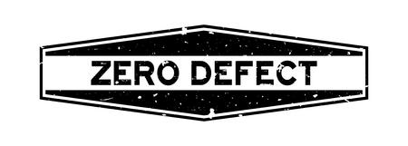 Grunge black zero defect word hexagon rubber seal stamp on white background