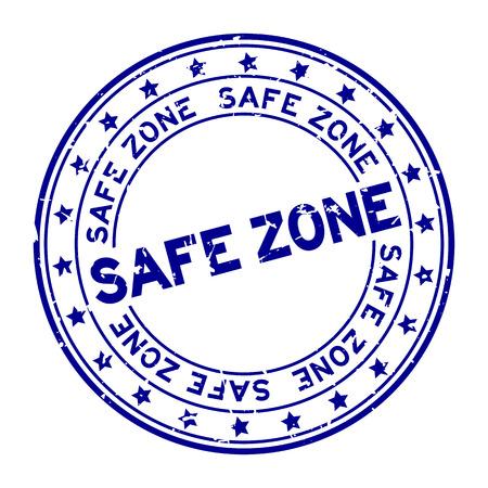 Grunge blue safe zone word round rubber seal stamp on white background Vectores