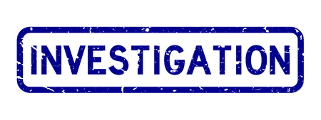 Grunge blue investigation word rubber seal stamp on white background Vectores