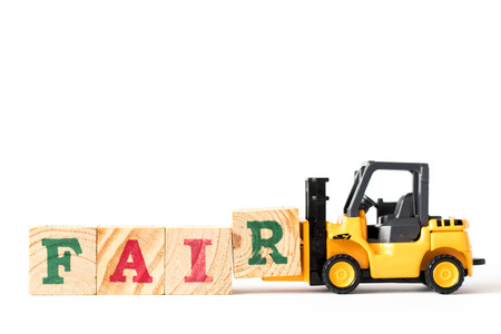 Toy forklift hold letter block r to complete word fair on white background