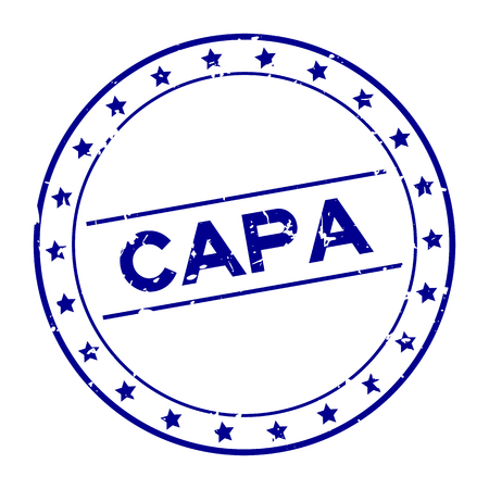 Grunge blue CAPA (abbreviation of corrective action and preventive action) word round rubber seal stamp on white background