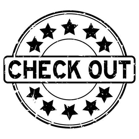 Grunge black check out word with star icon round rubber seal stamp on white background