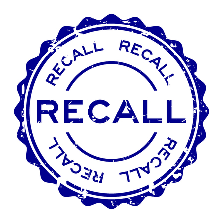 Grunge blue recall word round rubber seal stamp on white background