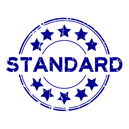 Grunge blue standard wording with star icon round rubber seal stamp on white background