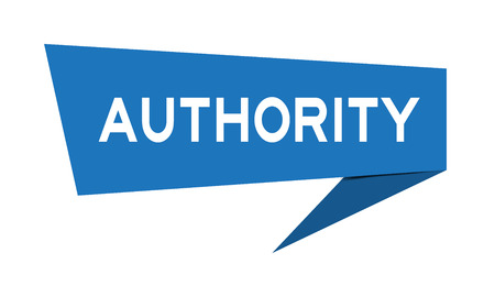 Blue paper speech banner with word authority on white background (Vector)