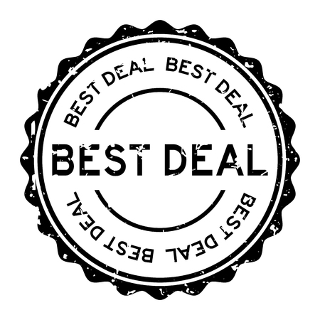 Grunge black best deal word round rubber seal stamp on white background
