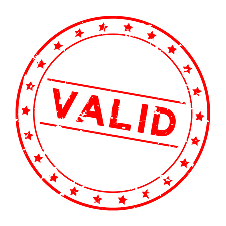 Grunge rouge mot valide avec icône étoile rond joint en caoutchouc stamp sur fond blanc