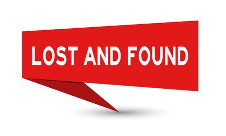 Red paper speech banner with word lost and found on white background (Vector)