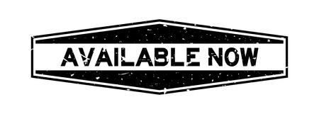 Grunge black available now word hexagon rubber seal stamp on white background Illusztráció