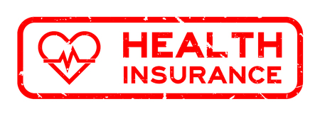 Grunge red health insurance word with heart and pulse icon square rubber seal stamp on white background