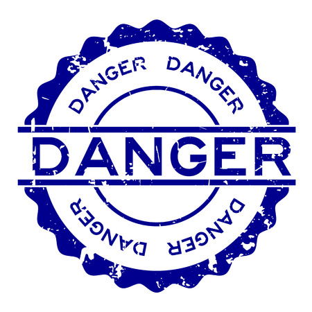 Grunge blue danger word round rubber seal stamp on white background Reklamní fotografie - 124578035