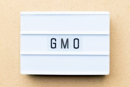 White lightbox with word GMO (abbreviation of Genetically Modified Organisms) on wood background