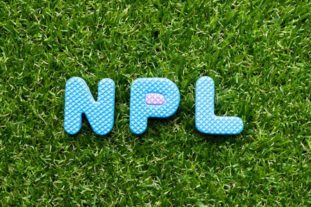 Toy foam letter in word NPL (Abbreviation of Non Performing Loan, Non-Patent Literature) on green grass background