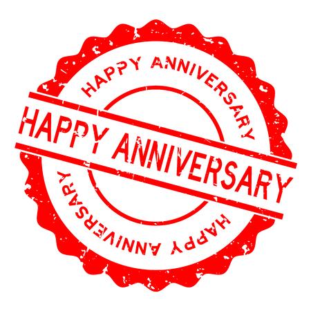 Grunge red happy anniversary word round rubber seal stamp on white background