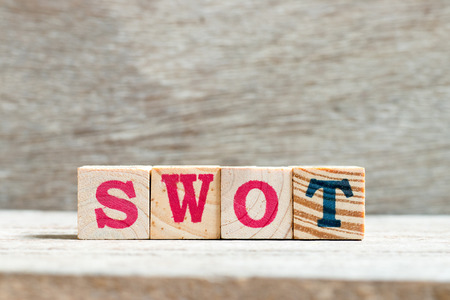 Letter block in word swot (abbreviation of strength, weakness, opportunities, threats) on wood background
