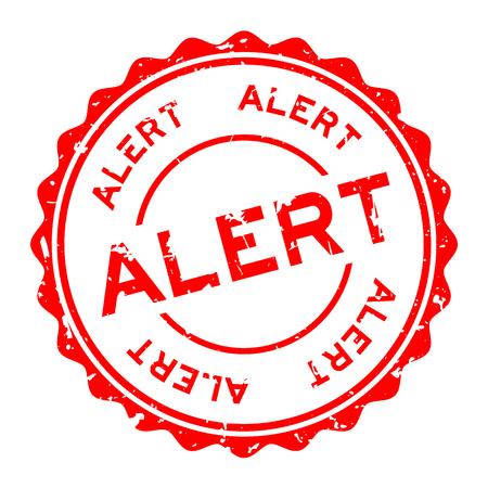 Grunge red alert word round rubber seal stamp on white background