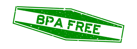 Grunge green BPA (abbreviation of Bisphenol A) free word hexagon rubber seal stamp on white background Illustration