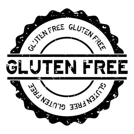 Grunge black gluten free word round rubber seal stamp on white background Illustration