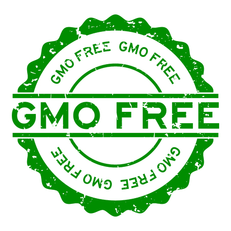 Grunge green gmo free word round rubber seal stamp on white background