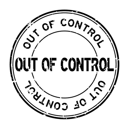 Grunge black out of control word round rubber seal stamp on white background