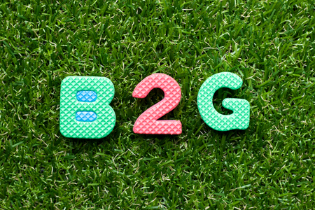 Toy foam letter in word b2g (abbreviation of business to government) on green grass background