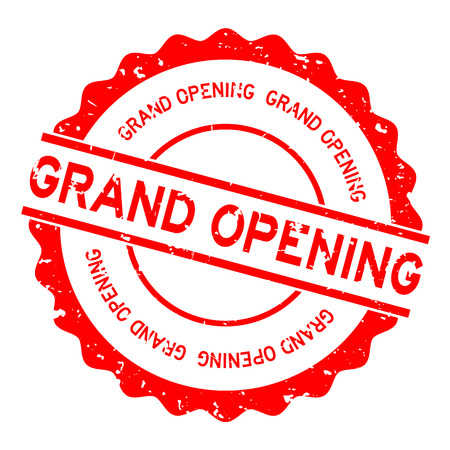 Grunge red grand opening word round rubber seal stamp on white background Imagens - 124580029