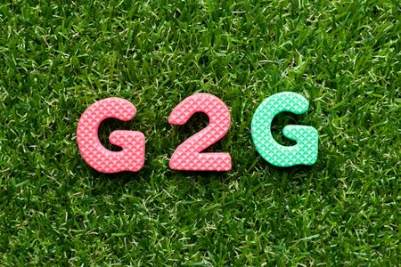 Toy foam letter in word G2G (abbreviation of Government to government)  on green grass background