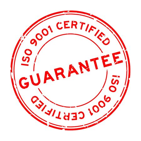 Grunge red iso 9001 certified guarantee word round rubber seal stamp on white background Ilustrace