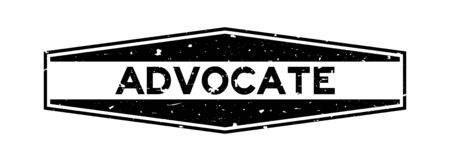 Grunge black advocate word hexagon rubber seal stamp on white background