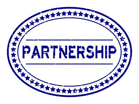 Grunge blue partnership word oval rubber seal stamp on white background Illustration