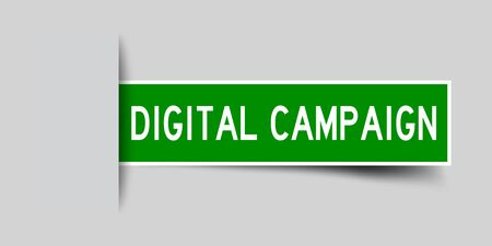 Label sticker green color in word digital campaign that inserted in gray background
