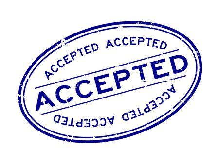 Grunge blau akzeptiertes Wort ovaler Siegelstempel auf weißem Hintergrund