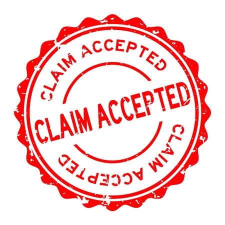 Grunge red claim accepted word round rubber seal stamp on white background