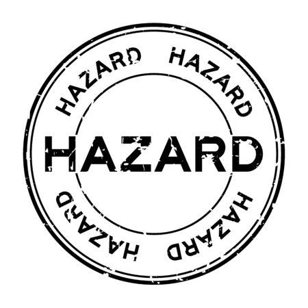Grunge black hazard word round rubber seal stamp on white background