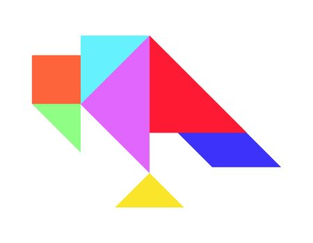 Color tangram puzzle in vulture shape on white background (Vector)