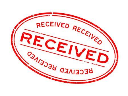 Grunge rojo recibió palabra sello de sello de goma ovalada sobre fondo blanco.