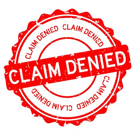 Grunge red claim denied word round rubber seal stamp on white background Иллюстрация