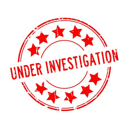 Grunge red under investigation word with star icon rubber seal stamp on white background