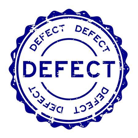Grunge blue defect word round rubber seal stamp on white background