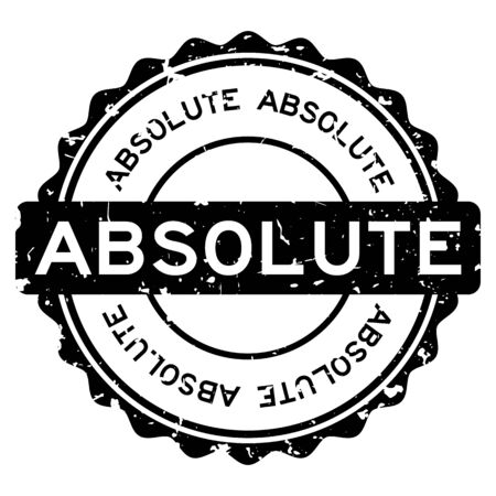 Grunge black absolute word round rubber seal stamp on white background