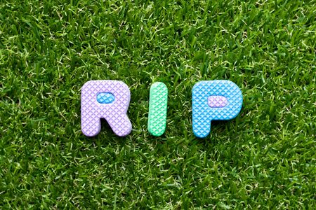 Toy foam letter in word RIP (abbreviation of rest in peace) on green grass background