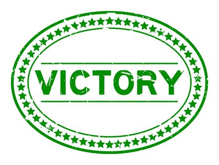 Grunge green victory word oval rubber seal stamp on white background
